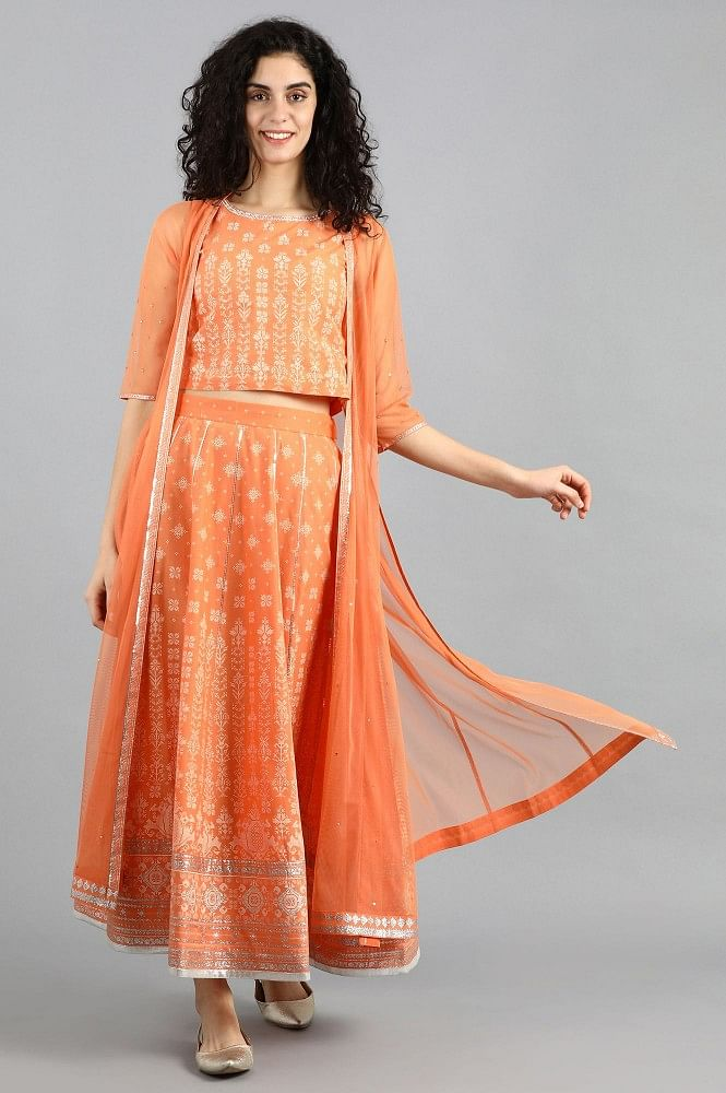 Buy Orange Round Neck Set Online for Women for only INR 2499 – W For Woman